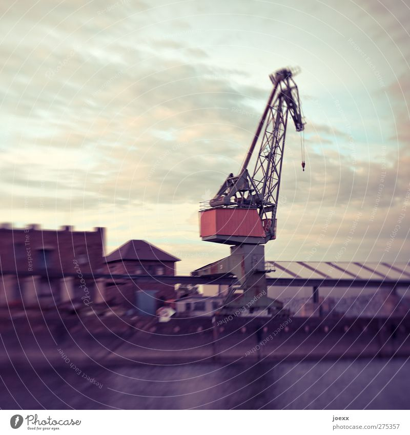 steel giraffe Industry Water Sky Clouds Deserted Factory Harbour Building Old Blue Red Black White Crane Dockside crane Colour photo Subdued colour