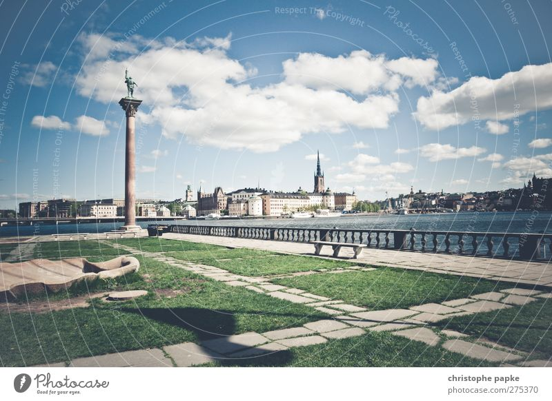 Colorful Stockholm Clouds Spring Summer Beautiful weather Park Coast Town Capital city Outskirts Deserted Places Tourist Attraction Bright Vacation & Travel