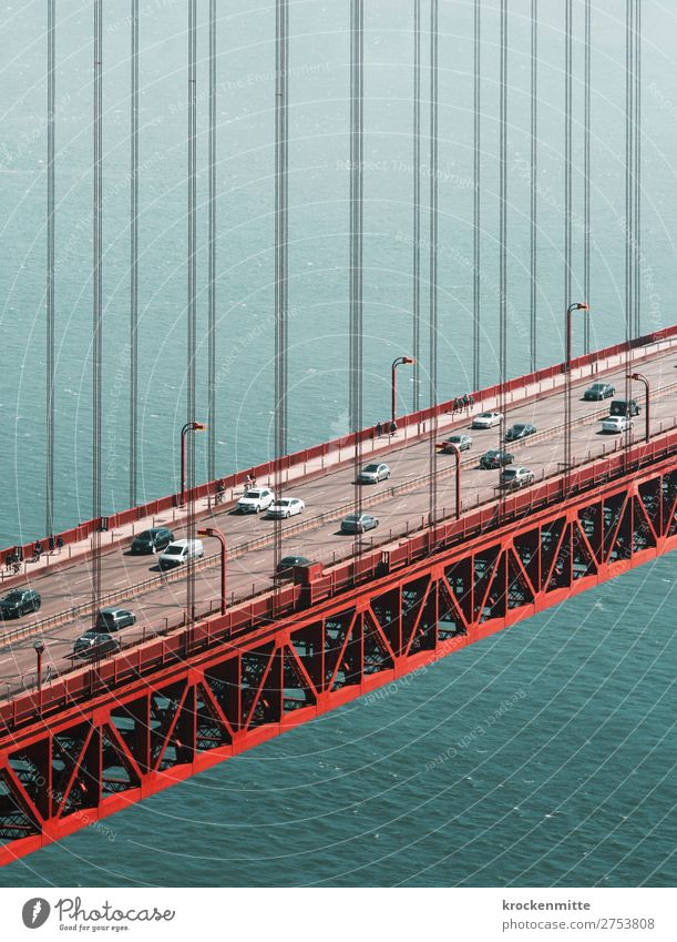 Vacation & Travel Blue Water Red Street Lanes & trails Coast Gray Going Line Car Metal Transport Bridge Tourist Attraction Manmade structures