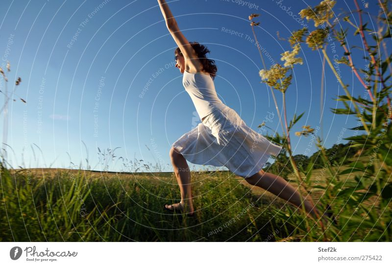 Woman Nature Blue Adults Relaxation Feminine Life Grass Movement Jump Healthy Free Speed Wellness Fitness Infinity