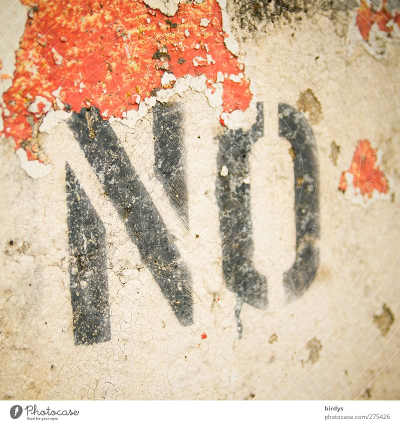 no ... Wall (barrier) Wall (building) Characters Broken Red Black Protest Bans Denial Flake off Paints and varnish Revolt Negative Colour photo Exterior shot