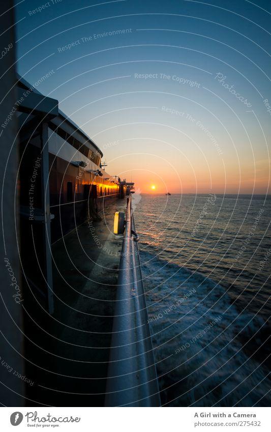 Sky Nature Water Sun Ocean Calm Horizon Weather Transport Beautiful weather Driving Idyll North Sea Navigation Cloudless sky Ferry