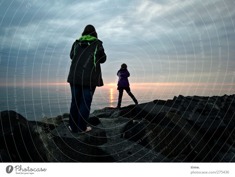 Hiddensee | Sunset Worshippers Girl Woman Adults Infancy 2 Human being 3 - 8 years Child Environment Nature Landscape Water Sky Clouds Horizon Rock Coast