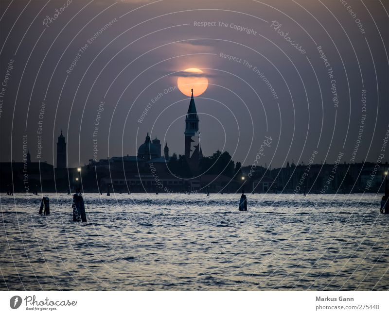 Sunset over Venice Vacation & Travel Tourism City trip Ocean Town Old town Skyline Church Dome Tourist Attraction Love Romance Europe Italy Tower Moody Point