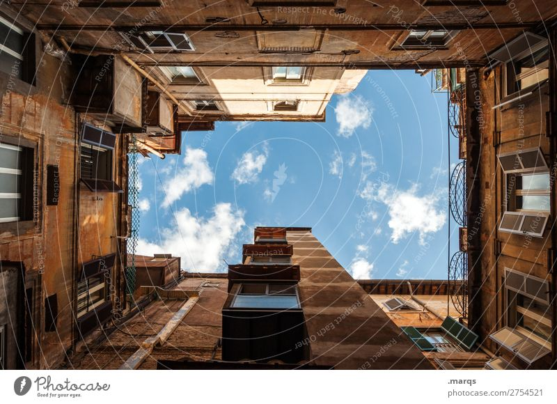inner courtyard Sky Clouds Beautiful weather Old town House (Residential Structure) Building Architecture Interior courtyard Facade Living or residing