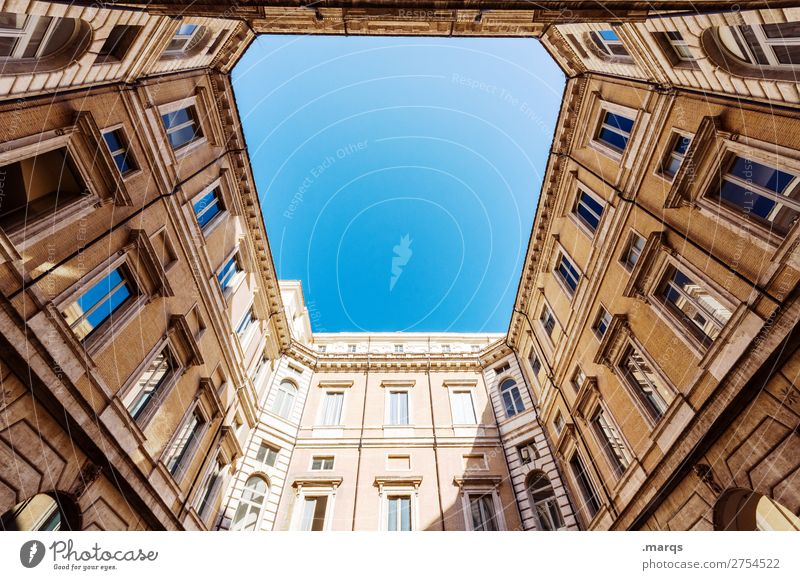 upward Cloudless sky Beautiful weather Manmade structures Building Architecture Facade Old Historic Perspective Skyward Ambitious Colour photo Exterior shot