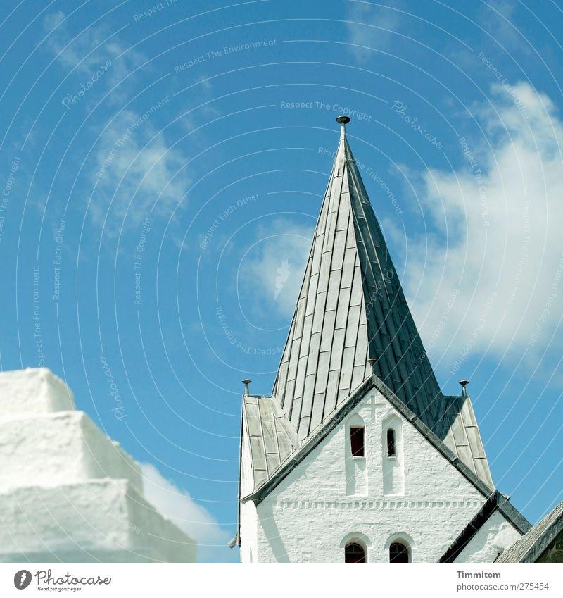 Sky Blue Vacation & Travel White Clouds Emotions Gray Stone Bright Church Esthetic Roof Firm Crucifix Sharp-edged Denmark