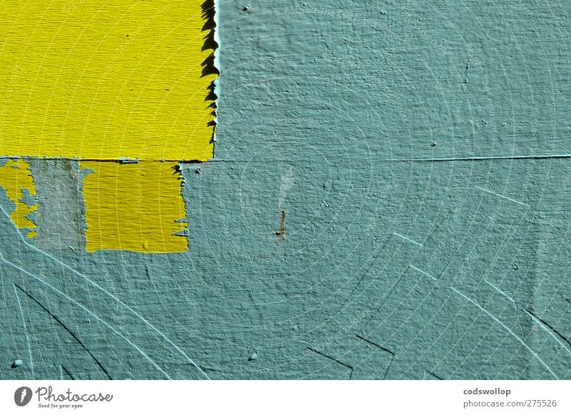 enter the ninja Wall (barrier) Wall (building) Facade Characters Yellow Green Structures and shapes Colour photo Exterior shot Detail Abstract Deserted