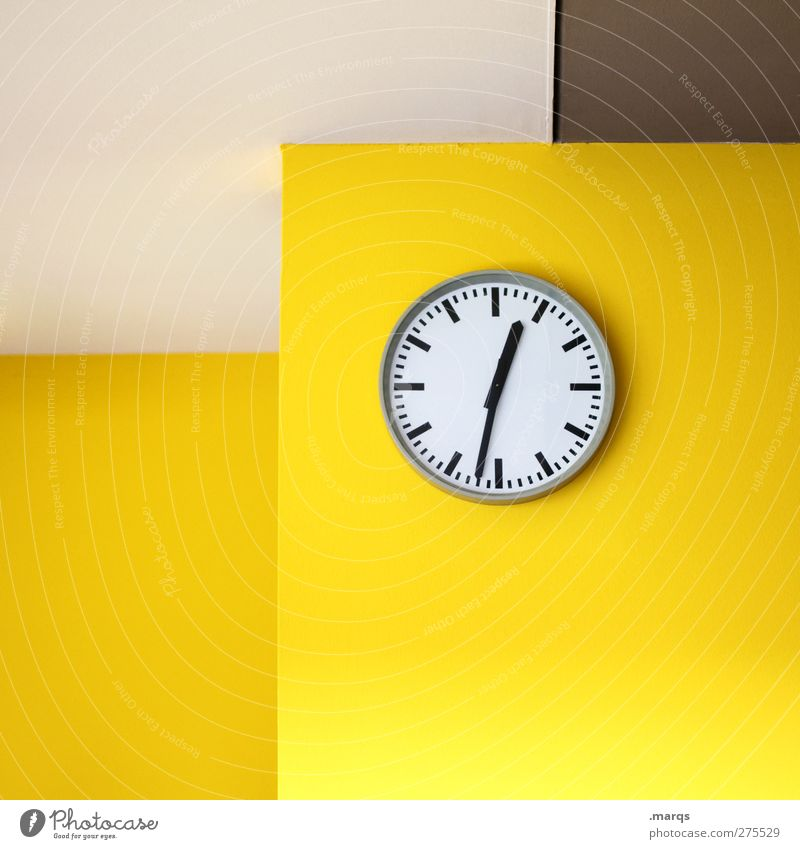 Half past twelve Lifestyle Design Interior design Office Business Meeting Wall (barrier) Wall (building) Sign Clock Esthetic Hip & trendy Modern Yellow Stress