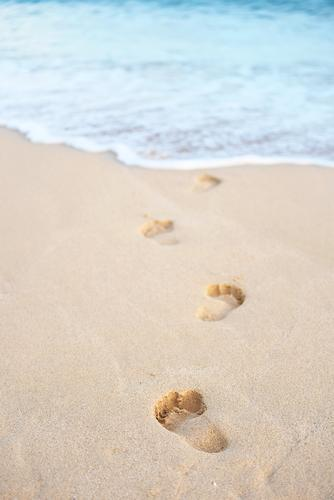 Footprints into the sea Happy Healthy Wellness Harmonious Well-being Spa Swimming & Bathing Vacation & Travel Tourism Far-off places Summer Summer vacation Sun
