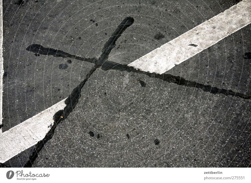 X 1 Transport Street Crossroads Lanes & trails Road junction Good Beautiful Asphalt mend Repaired Stripe Signs and labeling Colour photo Subdued colour