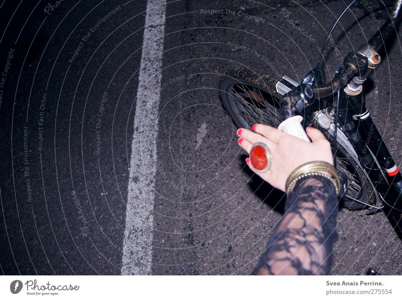 Human being Youth (Young adults) Hand Dark Street Feminine Young woman Fashion Bicycle Arm Fingers To hold on Asphalt Ring Cycling Wheel