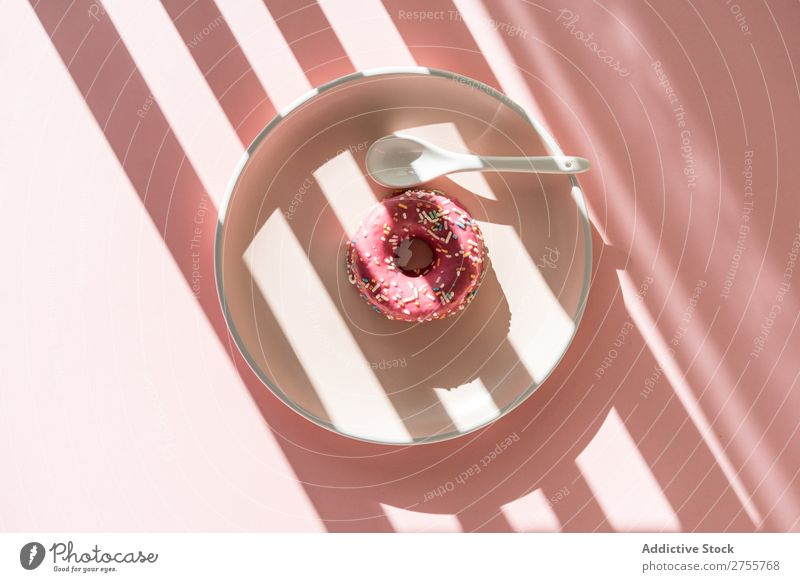 Sweet doughnut in sun striped Donut minimalist Pink Sunlight Stripe geometric Baked goods Plate Confectionary Dog food Fresh sprinkles Dessert Gastronomy Round