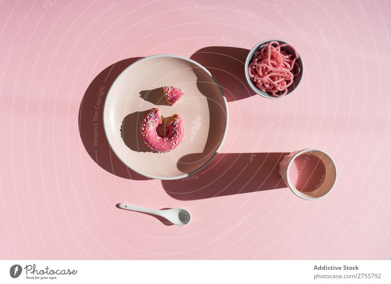 Pink sweets in composition from above Candy Colour Donut Drinking valentine Sweet Baked goods Jelly Culinary Cup Milkshake Sugar Vacation & Travel Design glazed
