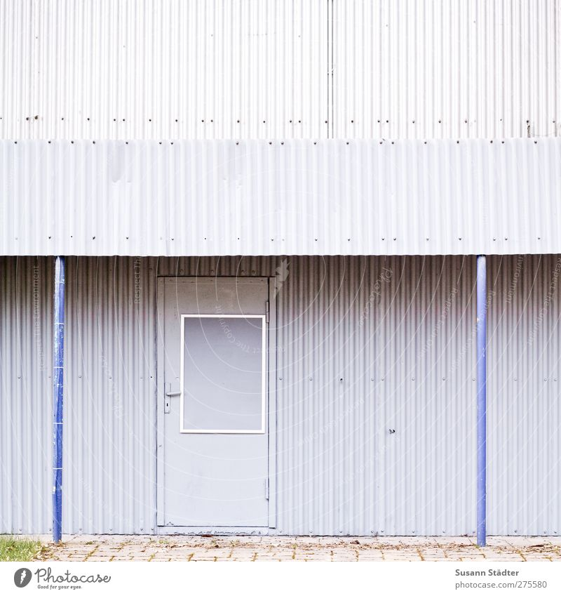I-I House (Residential Structure) Hut Parking garage Manmade structures Building Architecture Facade Cold Retro Trashy Blue Gray Corrugated sheet iron