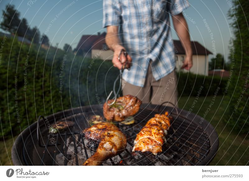 Human being Man Adults Food Garden Body Masculine Stand Good To hold on Smoke Joie de vivre (Vitality) Barbecue (event) Meat Embers Coal