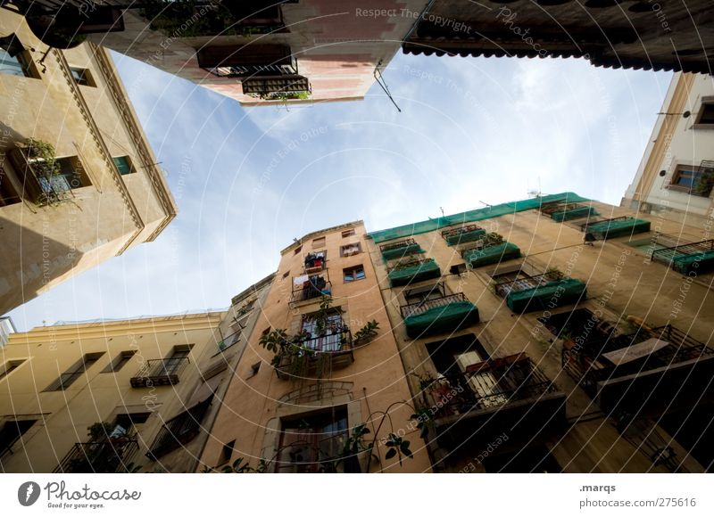 Old Beautiful House (Residential Structure) Window Exceptional Facade Living or residing Perspective Uniqueness Balcony Spain Old town Interior courtyard Madrid Skyward City trip