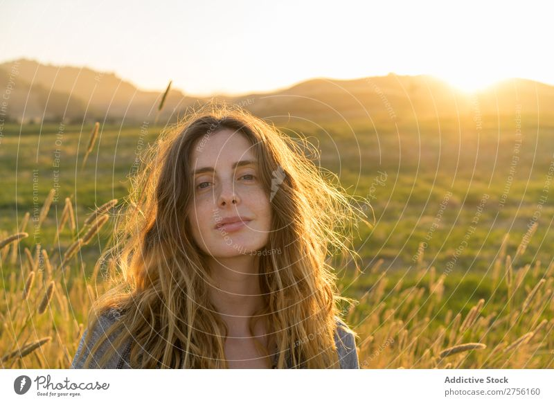 Confident woman in summer field Woman Portrait photograph Summer Posture Landscape Nature Beautiful Colour Meadow Exterior shot Countries Rural Freedom