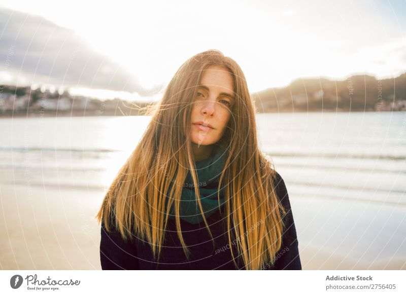 Young dreamy woman at seaside Woman Youth (Young adults) Coast Ocean Stand pretty Attractive Nature Water Vacation & Travel Beach San Sebastián Spain Beautiful