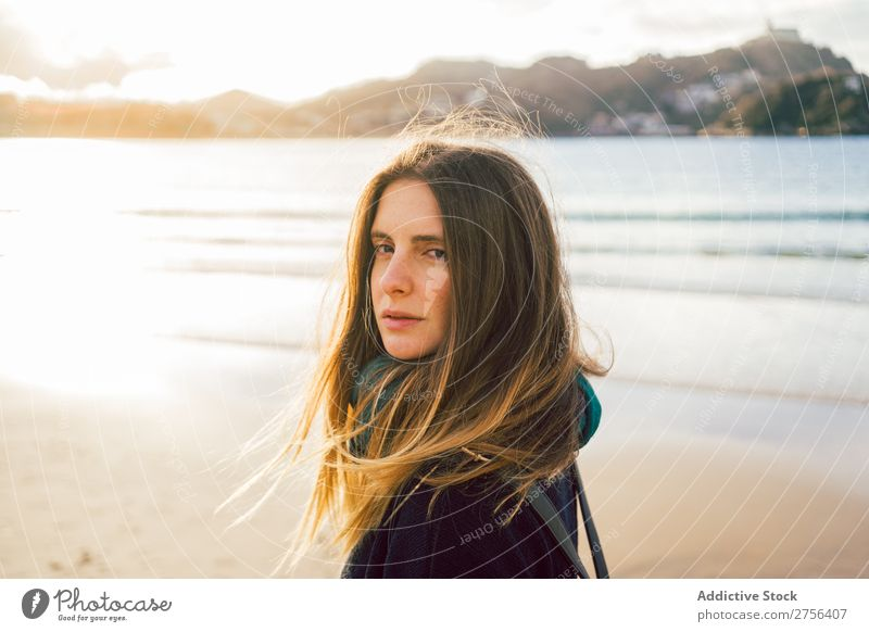 Young dreamy woman at seaside Woman Youth (Young adults) Coast Ocean Looking away Stand pretty Attractive Nature Water Vacation & Travel Beach San Sebastián