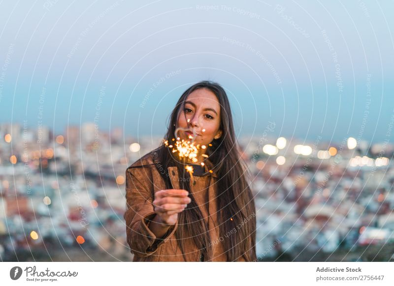 Cheerful young woman with sparkler Woman pretty Nature Sparkler Beautiful Portrait photograph Youth (Young adults) Beauty Photography Model Attractive Fashion