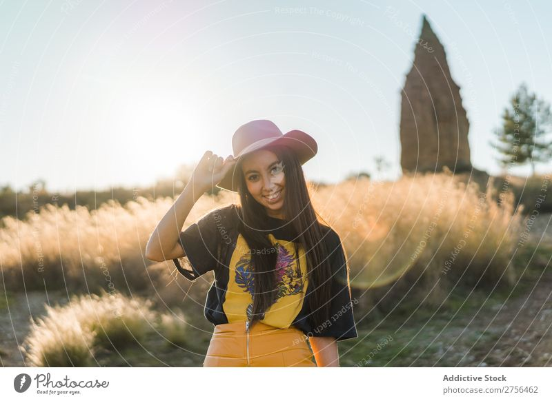 Cheerful young woman in hat in nature Woman pretty Nature Hat Beautiful Portrait photograph Youth (Young adults) Beauty Photography Model Attractive Fashion