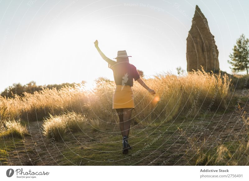 Cheerful young woman in hat in nature Woman Nature Hat Beautiful Portrait photograph Youth (Young adults) Beauty Photography