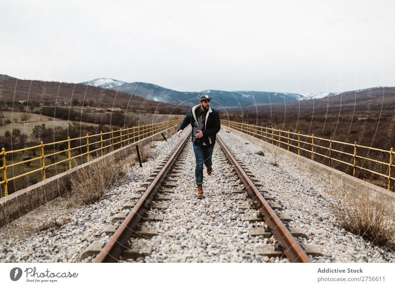 Man running on railroad Railroad Nature Running Speed Rust Old Vacation & Travel Lifestyle Youth (Young adults) Landscape Track Beautiful Human being Transport