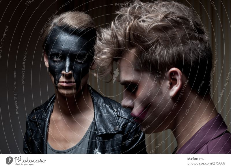 HUNGRY Human being Masculine 2 Art Theatre Stage Actor Punk Rockabilly Observe Think Looking Faded Aggression Exceptional Threat Dark Together Trashy Town Black