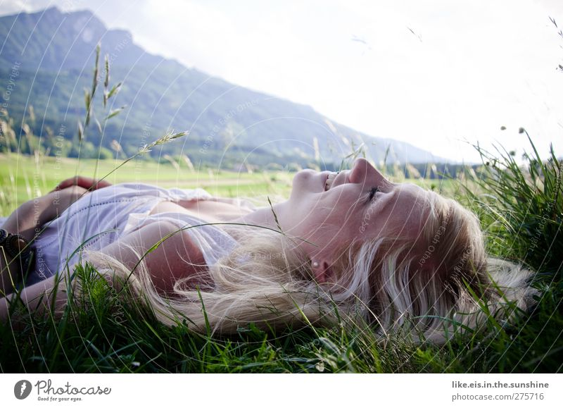 spring feelings. Feminine Young woman Youth (Young adults) Woman Adults Life 1 Human being 18 - 30 years Nature Beautiful weather Grass Meadow Alps Mountain
