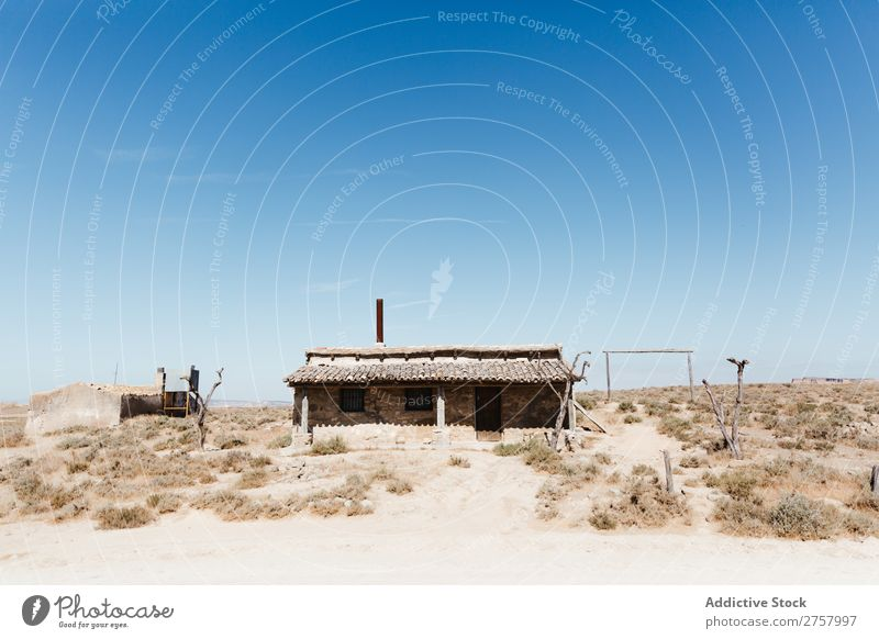 Landscape abandoned house in the desert Hut Desert Vacation & Travel Lifestyle Nature Adventure Trip Tourist House (Residential Structure) Living or residing