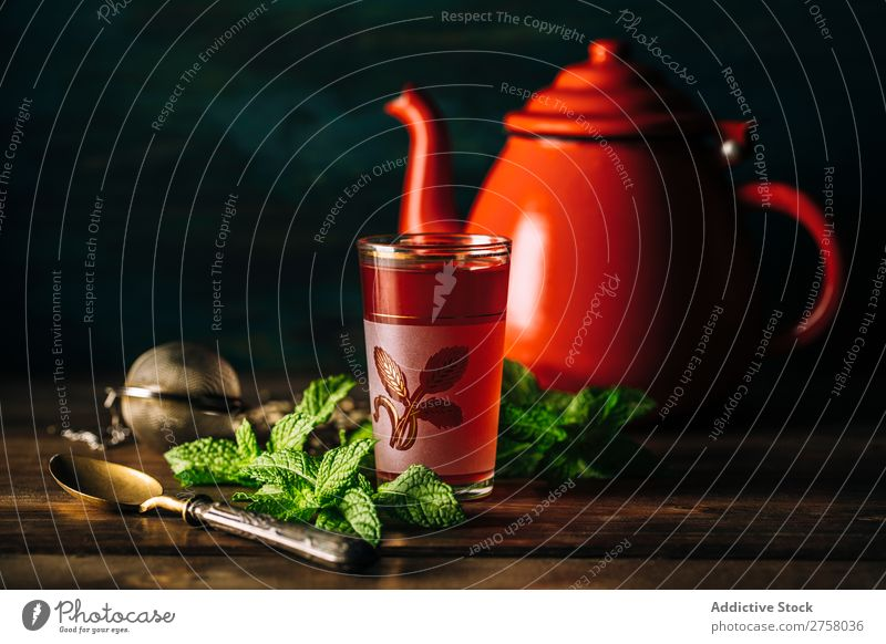Red tea with red teapot Afternoon Arabia arabic Aromatic Background picture Black Brown Culture Cup Dark Drinking East Exotic Food Glass Healthy Heat Hot