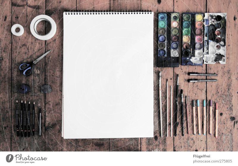 Photoshop analog Handicraft Draw Paper Drawing pad Paintbrush Paintbox Adhesive tape Painting (action, artwork) Scissors Parquet floor Floor covering Pencil