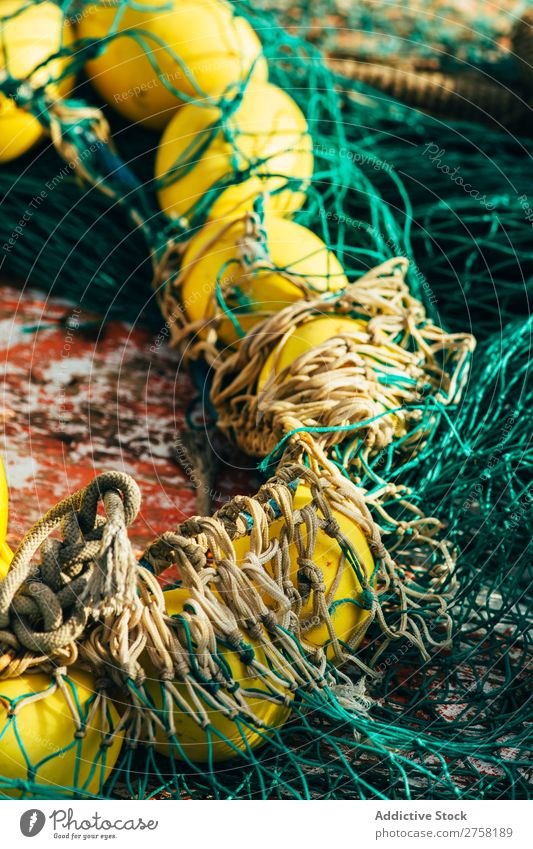 Net with yellow floats Ball bobber Buoy Colour Multicoloured Day Detail Equipment Fishery fishnet Float in the water Green Horizontal Industrial Industry marine