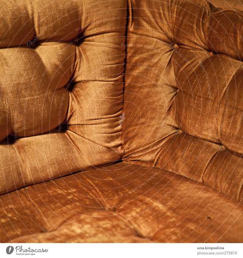 corner Living or residing Interior design Furniture Sofa Armchair Old Retro Orange Velvet Sit Colour photo Interior shot Detail Pattern Structures and shapes