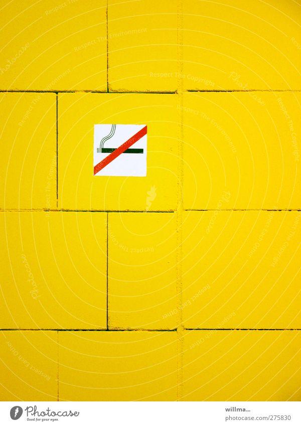 NO SMOKING Smoking Cigarette Sign Signage Warning sign Smoke Yellow Bans No smoking Wall (building) willma... Colour photo Interior shot Deserted