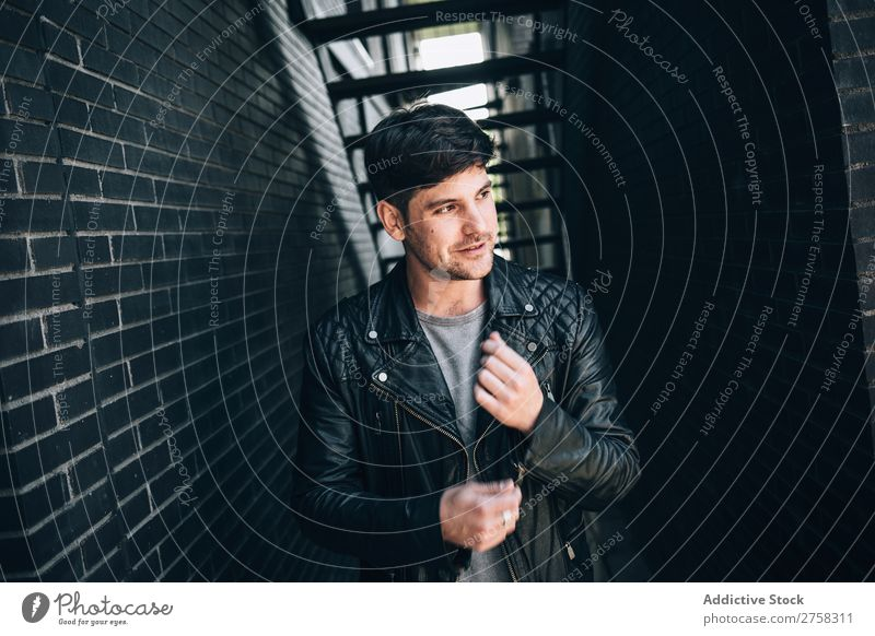 Confident man in leather jacket Man Youth (Young adults) Self-confident Jacket Leather Cool (slang) Human being Portrait photograph Modern Model fashionable