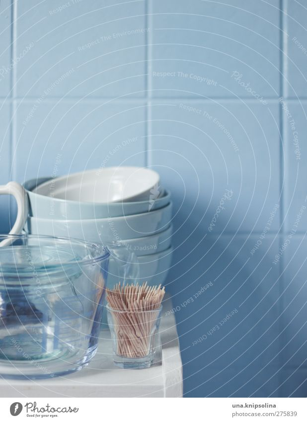 Blue Wall (building) Wall (barrier) Style Glass Design Decoration Living or residing Round Kitchen Tile Crockery Bowl Jug Toothpick