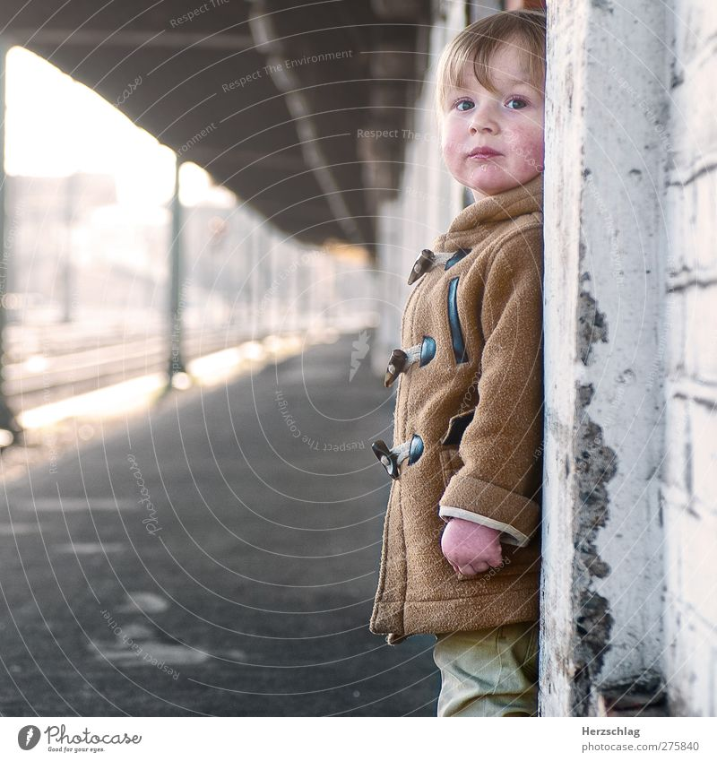 the other day with Moritz... Masculine Child 1 Human being 1 - 3 years Toddler Town Train station Wall (barrier) Wall (building) Looking Stand Wait Authentic
