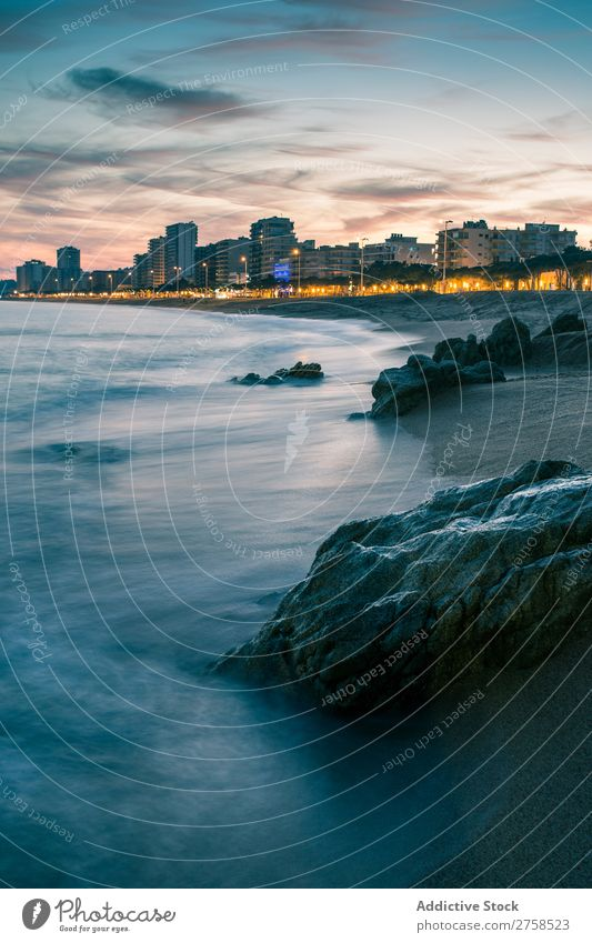 Costa Brava at night Girona Beach Blue brava Building Calm Catalonia Coast Ribs Dark daro Destination Europe Landscape Light Moody Night Deserted Ocean