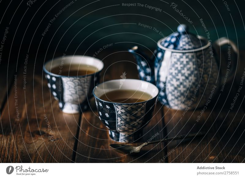 Hot tea on porcelain cups Antique asian Background picture Beverage Blue ceramic China Chinese Close-up Culture Cup Dark Design Drinking East herbal Kettle