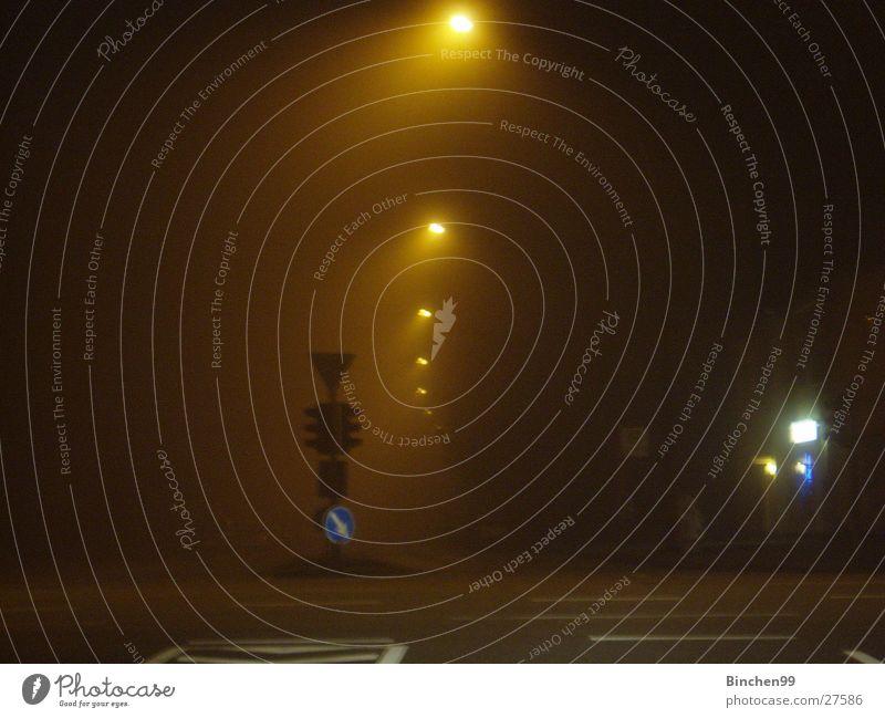 City Street Dark Fog Hamburg Transport Traffic light Mixture Road sign