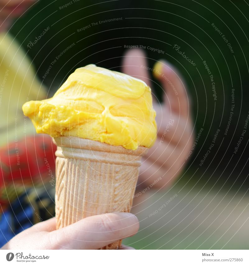 ice Food Ice cream Nutrition Eating Child Hand Fingers Cold Delicious Yellow Ice-cream cone Vanilla ice cream Vanilla pod Lick Summer Colour photo Multicoloured