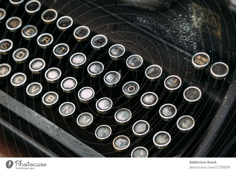 Keyboard of vintage typewriter Latin alphabet Antique Buttons Classic Close-up Empty Cast iron Bird's-eye view Grunge Horizontal keypad Letter (Mail) machine
