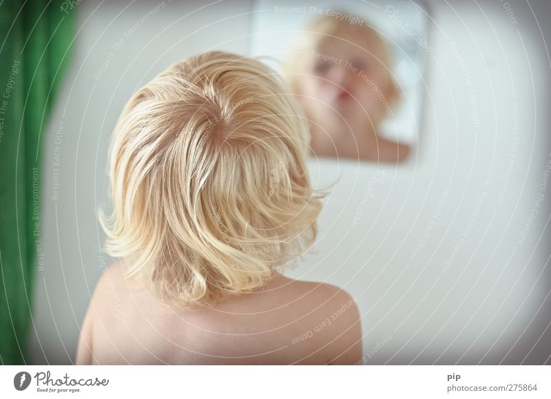 Mirror Image Human being Masculine Child Boy (child) Head Hair and hairstyles Face Back Shoulder 1 1 - 3 years Toddler Bathroom Blonde Curl Looking Happiness