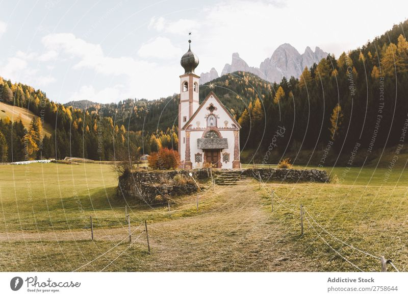 Small church on meadow Church Religion and faith Meadow Lawn Dome Architecture Christianity Forest Hill Mountain Nature Landscape Vacation & Travel Beautiful
