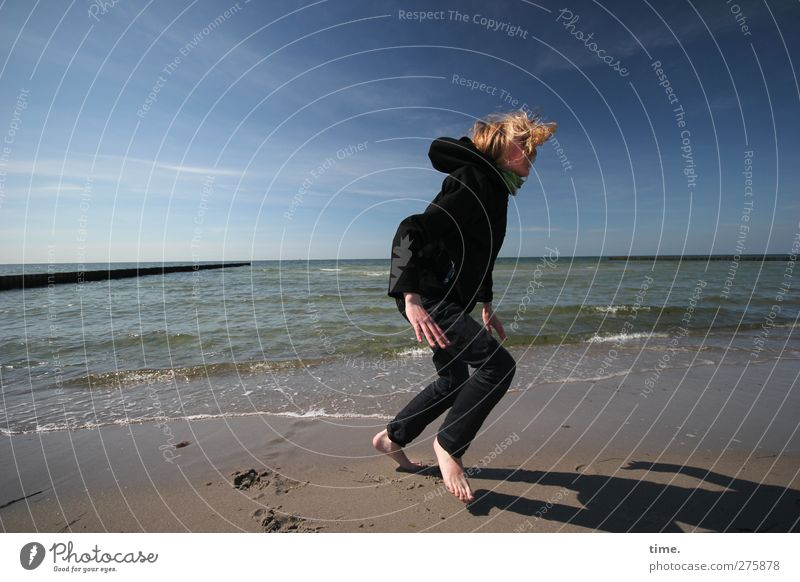 Hiddensee | Performing Another Hidden Sea Dance Human being 1 Environment Nature Sand Water Sky Horizon Waves Coast Beach Baltic Sea Blonde Happiness Relaxation