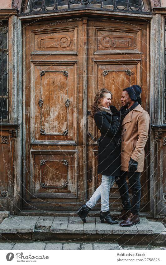 Couple embraced at vintage door Style Street Wood Door Old Easygoing Beautiful