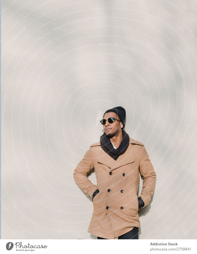 Black man in stylish sunglasses Man Adults Ethnic Sunglasses warm clothes Self-confident Cool (slang) Stand Human being handsome Lifestyle Modern Guy