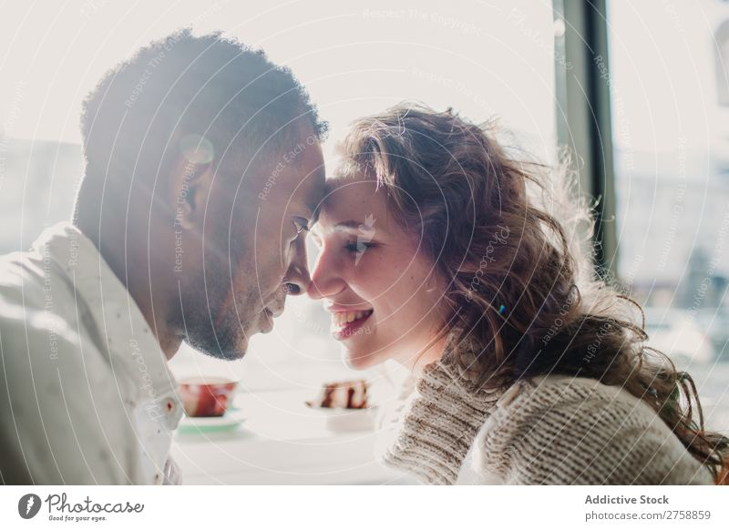 Couple in sweaters bonding multiethnic Style Easygoing Beautiful Sweater Bonding Date Mixed race ethnicity Black Youth (Young adults) Together handsome pretty